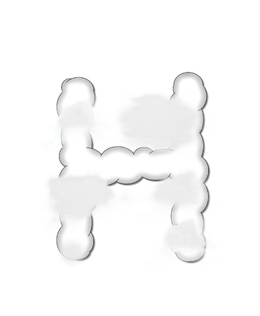The letter H, in the alphaet set Cloudy, is shaped like a fluffy cloud.  Whimsical and airy clouds float across its surface. Stock Photo - 16320264
