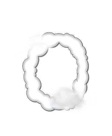 shaped: The letter O, in the alphaet set Cloudy, is shaped like a fluffy cloud.  Whimsical and airy clouds float across its surface.
