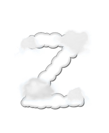 The letter Z, in the alphaet set Cloudy, is shaped like a fluffy cloud.  Whimsical and airy clouds float across its surface. Stock Photo - 16320254