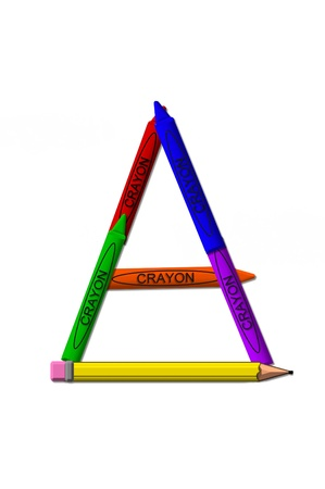 upper case: A, in the alphabet set crayons is formed from stacked and and turned 3D crayons.  Crayons are in the primary colors found in a crayon box. Stock Photo