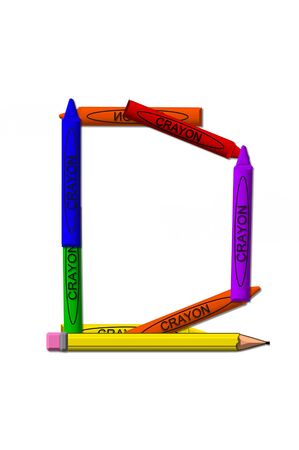 primary colors: D, in the alphabet set crayons is formed from stacked and and turned 3D crayons.  Crayons are in the primary colors found in a crayon box. Stock Photo