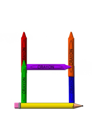 colors: H, in the alphabet set crayons is formed from stacked and and turned 3D crayons.  Crayons are in the primary colors found in a crayon box.