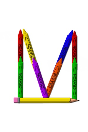 upper case: M, in the alphabet set crayons is formed from stacked and and turned 3D crayons.  Crayons are in the primary colors found in a crayon box. Stock Photo