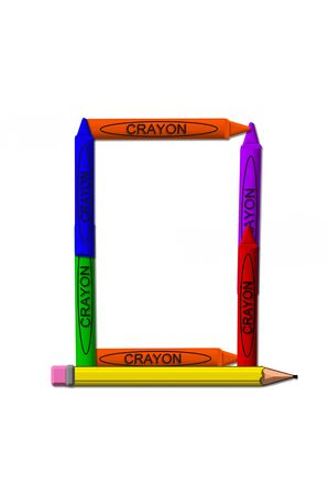 isolation: O, in the alphabet set crayons is formed from stacked and and turned 3D crayons.  Crayons are in the primary colors found in a crayon box. Stock Photo