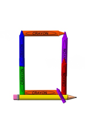 Q, in the alphabet set crayons is formed from stacked and and turned 3D crayons.  Crayons are in the primary colors found in a crayon box. photo