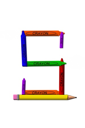 primary colors: S, in the alphabet set crayons is formed from stacked and and turned 3D crayons.  Crayons are in the primary colors found in a crayon box. Stock Photo