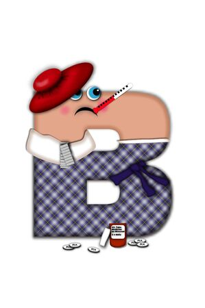 miserable: Alphabet letter B, in the alphabet set Flu Season, is dressed in plaid robe and scarf.  Letter has eyes and a miserable frown.  Medicine, thermometer, tissues or hot water bottle decorate letter.