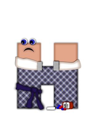 flue season: Alfabeto letra H, en la temporada de gripe alfabeto conjunto, est� vestida con t�nica a cuadros y bufanda. Carta tiene ojos y frunciendo el ce�o miserable. Medicina, term�metro, pa�uelos de papel o bolsa de agua caliente decorar carta. Foto de archivo