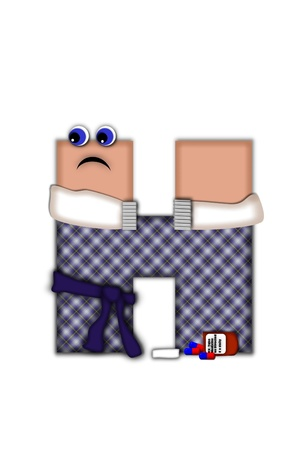 Alphabet letter H, in the alphabet set Flu Season, is dressed in plaid robe and scarf.  Letter has eyes and a miserable frown.  Medicine, thermometer, tissues or hot water bottle decorate letter. Stock Photo