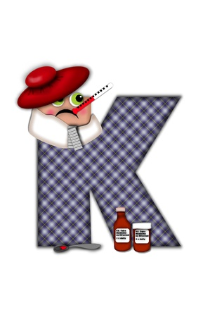 Alphabet letter K, in the alphabet set Flu Season, is dressed in plaid robe and scarf.  Letter has eyes and a miserable frown.  Medicine, thermometer, tissues or hot water bottle decorate letter.
