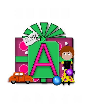 packaged: The letter A, in the alphabet set Gift Packaged, sits on a large gift tag on a brightly wrapped package.  Eyes are peaping from the letter and a smaller white tag says To: you, From: me.