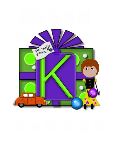 packaged: The letter K, in the alphabet set Gift Packaged, sits on a large gift tag on a brightly wrapped package.  Eyes are peaping from the letter and a smaller white tag says To: you, From: me.