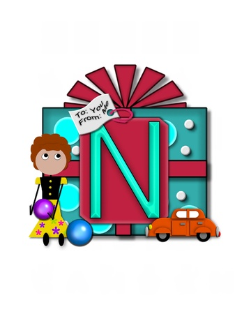 packaged: The letter N, in the alphabet set Gift Packaged, sits on a large gift tag on a brightly wrapped package.  Eyes are peaping from the letter and a smaller white tag says To: you, From: me.