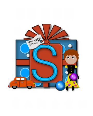 packaged: The letter S, in the alphabet set Gift Packaged, sits on a large gift tag on a brightly wrapped package.  Eyes are peaping from the letter and a smaller white tag says To: you, From: me. Stock Photo
