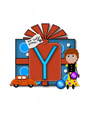 packaged: The letter Y, in the alphabet set Gift Packaged, sits on a large gift tag on a brightly wrapped package.  Eyes are peaping from the letter and a smaller white tag says To: you, From: me. Stock Photo