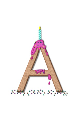 frosting: The letter A, from the alphabet set Happy Birthday, is tan with cake-like textured fill.  Letter is iced with pink frosting and sprinkled with tiny candies.  Candle sets in frosting on top of letter.