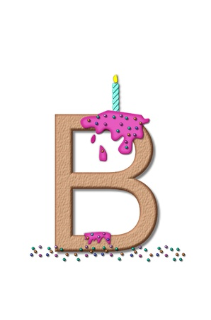 frosting: The letter B, from the alphabet set Happy Birthday, is tan with cake-like textured fill.  Letter is iced with pink frosting and sprinkled with tiny candies.  Candle sets in frosting on top of letter. Stock Photo
