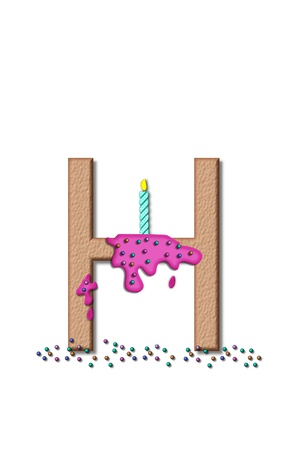 fill fill in: The letter H, from the alphabet set Happy Birthday, is tan with cake-like textured fill.  Letter is iced with pink frosting and sprinkled with tiny candies.  Candle sets in frosting on top of letter.