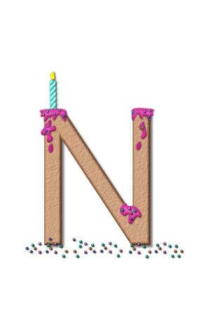 frosting: The letter N, from the alphabet set Happy Birthday, is tan with cake-like textured fill.  Letter is iced with pink frosting and sprinkled with tiny candies.  Candle sets in frosting on top of letter.