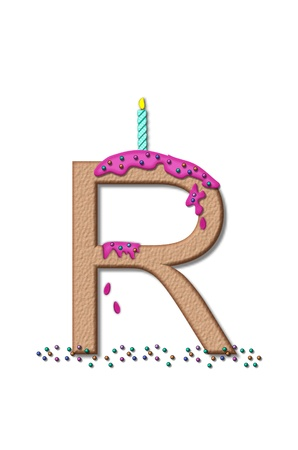 frosting: The letter R, from the alphabet set Happy Birthday, is tan with cake-like textured fill.  Letter is iced with pink frosting and sprinkled with tiny candies.  Candle sets in frosting on top of letter.