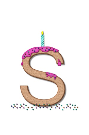 The letter S, from the alphabet set Happy Birthday, is tan with cake-like textured fill.  Letter is iced with pink frosting and sprinkled with tiny candies.  Candle sets in frosting on top of letter.