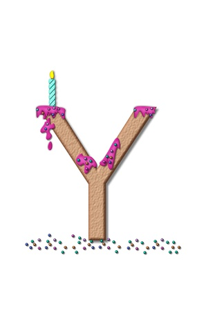 frosting: The letter Y, from the alphabet set Happy Birthday, is tan with cake-like textured fill.  Letter is iced with pink frosting and sprinkled with tiny candies.  Candle sets in frosting on top of letter. Stock Photo