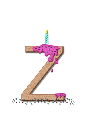 frosting: The letter Z, from the alphabet set Happy Birthday, is tan with cake-like textured fill.  Letter is iced with pink frosting and sprinkled with tiny candies.  Candle sets in frosting on top of letter. Stock Photo