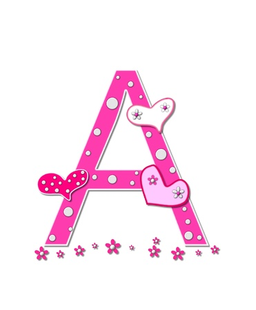 alpha: The letter A, in the alphabet set Heartfull, is pink outlined with white   Polka dots and hearts decorate letter with a line of pink flowers at the bottom