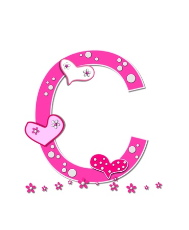 letter c: The letter C, in the alphabet set Heartfull, is pink outlined with white   Polka dots and hearts decorate letter with a line of pink flowers at the bottom  Stock Photo