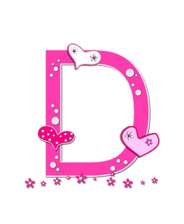 The letter D, in the alphabet set Heartfull, is pink outlined with white   Polka dots and hearts decorate letter with a line of pink flowers at the bottom  photo