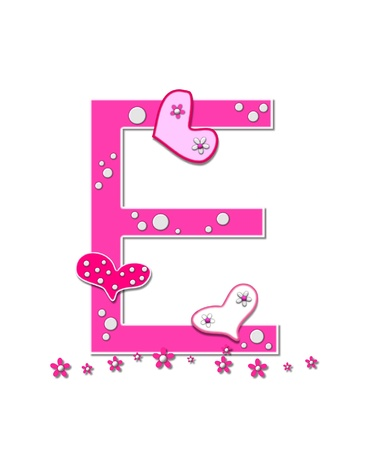 The letter E, in the alphabet set Heartfull, is pink outlined with white   Polka dots and hearts decorate letter with a line of pink flowers at the bottom  photo
