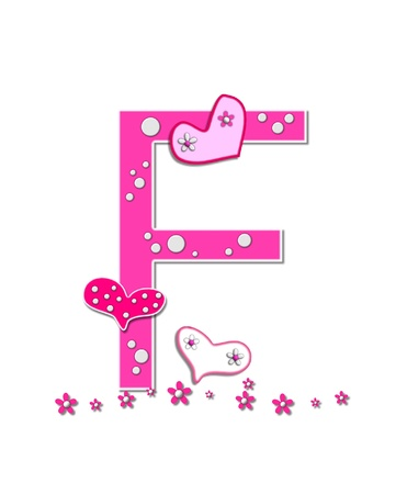 The letter F, in the alphabet set Heartfull, is pink outlined with white   Polka dots and hearts decorate letter with a line of pink flowers at the bottom  Stock Photo - 16321839