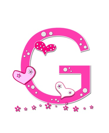 The letter G, in the alphabet set Heartfull, is pink outlined with white   Polka dots and hearts decorate letter with a line of pink flowers at the bottom  photo