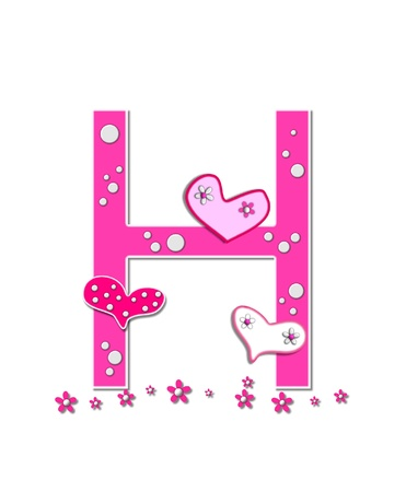 The letter H, in the alphabet set Heartfull, is pink outlined with white   Polka dots and hearts decorate letter with a line of pink flowers at the bottom  photo