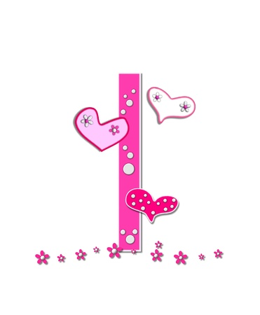 The letter I, in the alphabet set Heartfull, is pink outlined with white   Polka dots and hearts decorate letter with a line of pink flowers at the bottom