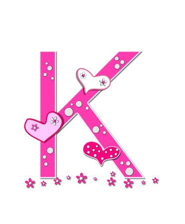 The letter K, in the alphabet set Heartfull, is pink outlined with white   Polka dots and hearts decorate letter with a line of pink flowers at the bottom