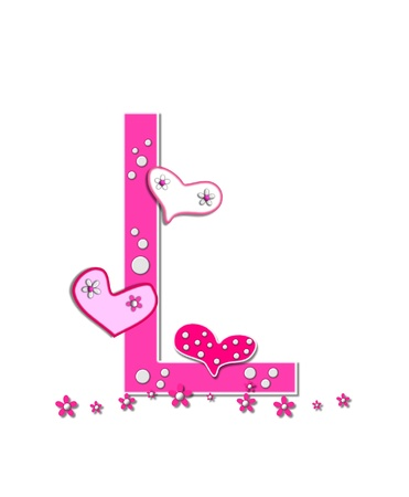 The letter L, in the alphabet set Heartfull, is pink outlined with white   Polka dots and hearts decorate letter with a line of pink flowers at the bottom  Stock Photo