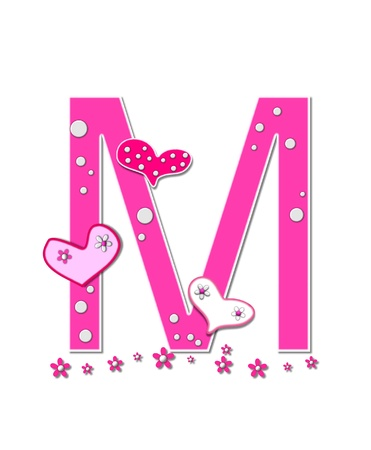 The letter M, in the alphabet set Heartfull, is pink outlined with white   Polka dots and hearts decorate letter with a line of pink flowers at the bottom