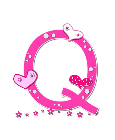 The letter Q, in the alphabet set Heartfull, is pink outlined with white   Polka dots and hearts decorate letter with a line of pink flowers at the bottom  photo