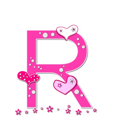 The letter R, in the alphabet set Heartfull, is pink outlined with white   Polka dots and hearts decorate letter with a line of pink flowers at the bottom  photo