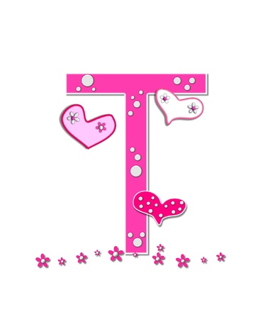 The letter T, in the alphabet set Heartfull, is pink outlined with white.  Polka dots and hearts decorate letter with a line of pink flowers at the bottom. photo
