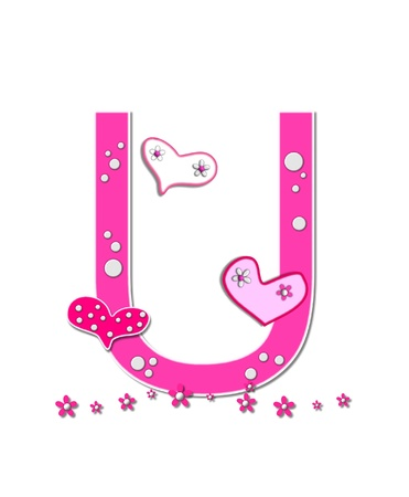 The letter U, in the alphabet set Heartfull, is pink outlined with white.  Polka dots and hearts decorate letter with a line of pink flowers at the bottom. photo