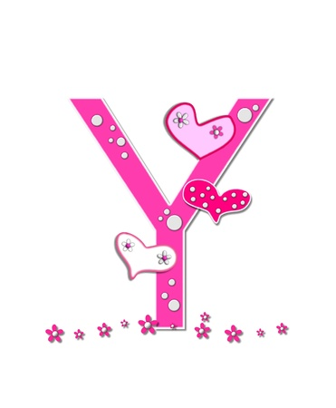 The letter Y, in the alphabet set Heartfull, is pink outlined with white.  Polka dots and hearts decorate letter with a line of pink flowers at the bottom.