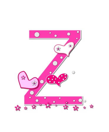 The letter Z, in the alphabet set Heartfull, is pink outlined with white.  Polka dots and hearts decorate letter with a line of pink flowers at the bottom. photo
