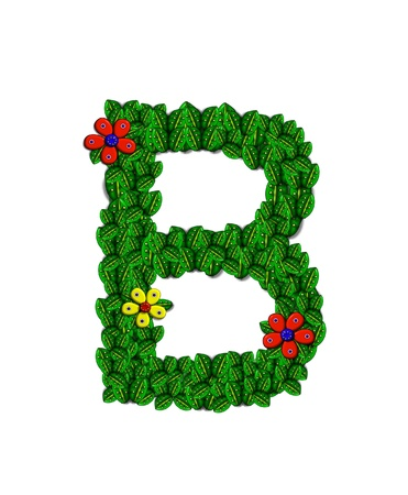 clinging: The letter B, in the alphabet set Landscaping, is covered with 3D leaves.  Red and yellow flowers bloom in cluster of leaves.  Background is white.