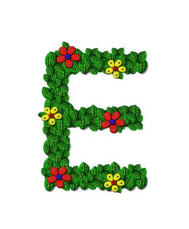 The letter E, in the alphabet set Landscaping, is covered with 3D leaves.  Red and yellow flowers bloom in cluster of leaves.  Background is white.