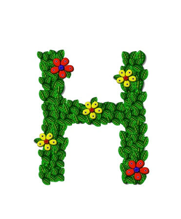 clinging: The letter H, in the alphabet set Landscaping, is covered with 3D leaves.  Red and yellow flowers bloom in cluster of leaves.  Background is white.