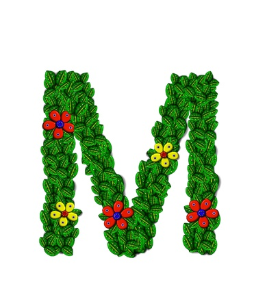 The letter M, in the alphabet set Landscaping, is covered with 3D leaves.  Red and yellow flowers bloom in cluster of leaves.  Background is white. photo