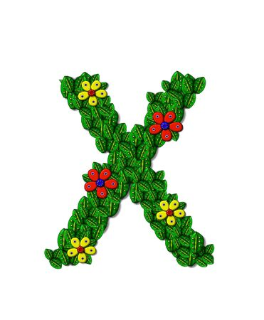 The letter X, in the alphabet set Landscaping, is covered with 3D leaves.  Red and yellow flowers bloom in cluster of leaves.  Background is white.