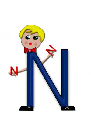 child holding sign: The letter N, in the alphabet set Living Letters, has head, arms and legs.  The boy cartoon figure is also holding a duplicate letter in red.